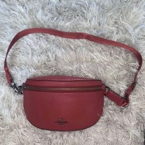 Red Leather Coach Fanny Pack